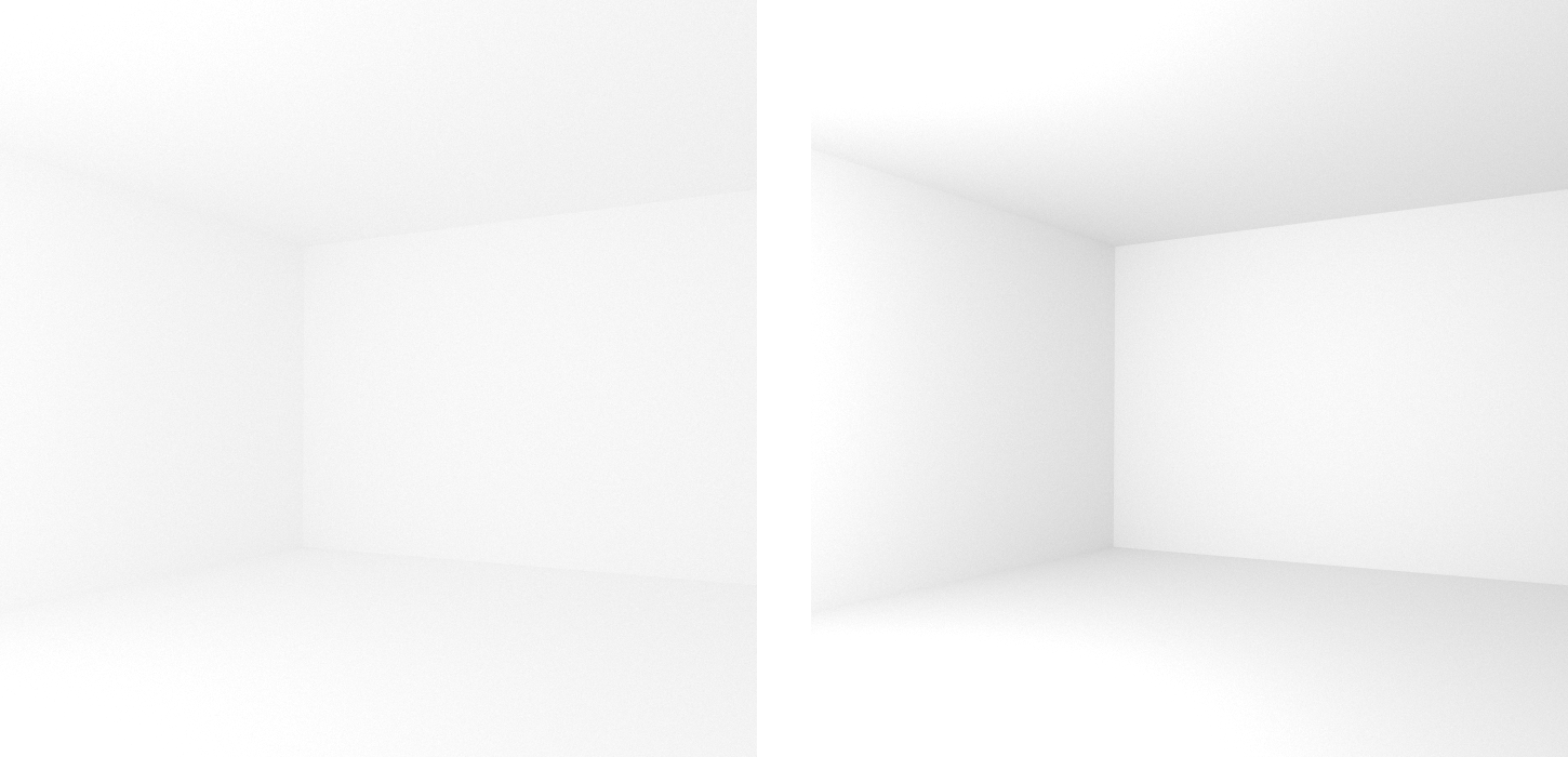 Comparison of diffuse rooms with 100% reflecting white paint (left) and realistic 80% reflecting white paint (right), which leads to in higher overall contrast. Note that exposure has been adjusted to achieve similar brightness levels.