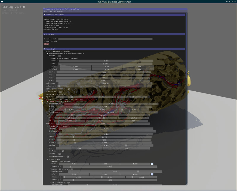 Screenshot of using ospExampleViewer with a scenegraph.
