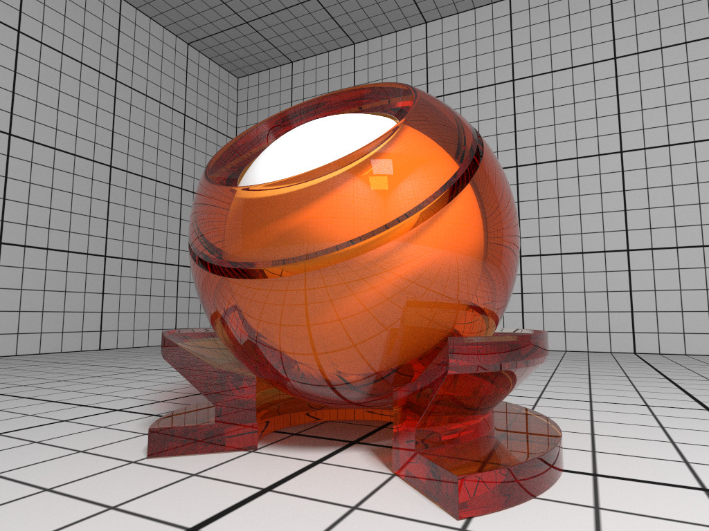 Rendering of a Glass material with orange attenuation.