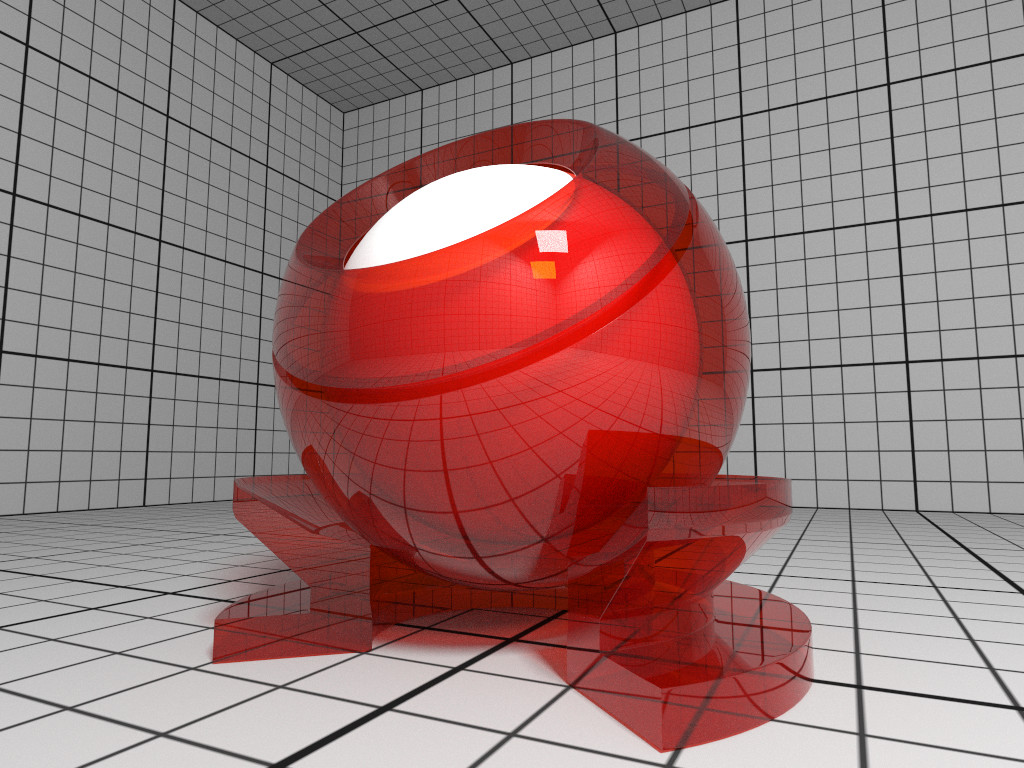 Rendering of a ThinGlass material with red attenuation.